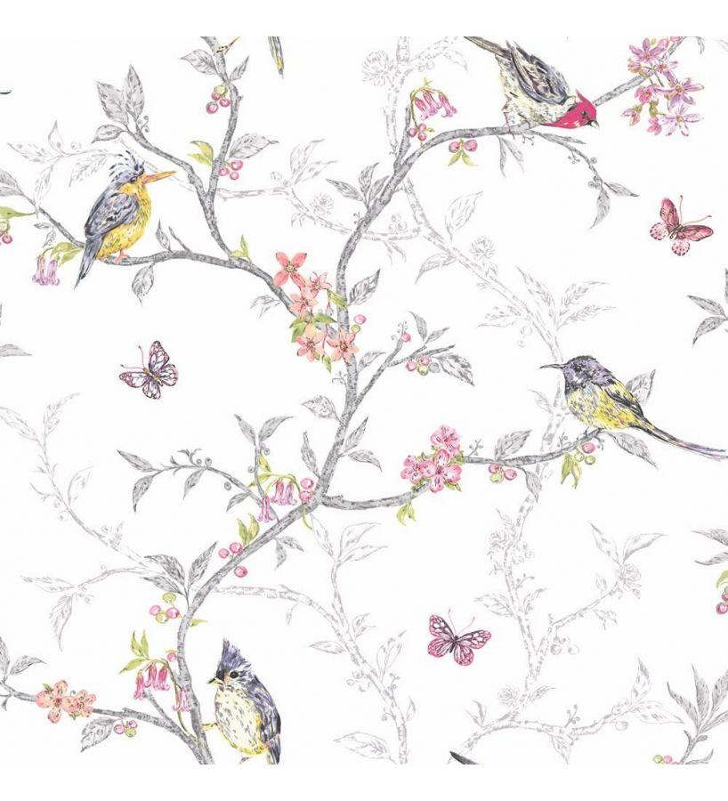 Hailey Cream /& pink Floral birds Glitter effect Wallpaper DECORATING SAME BATCH