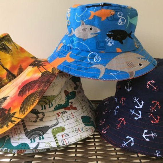 510965ee9b5 Bucket Hat Kids Unisex Infants Hat Summer Hat Toddler s Hat Beach Hat  Handmade Anchors Hat Sharks Ha