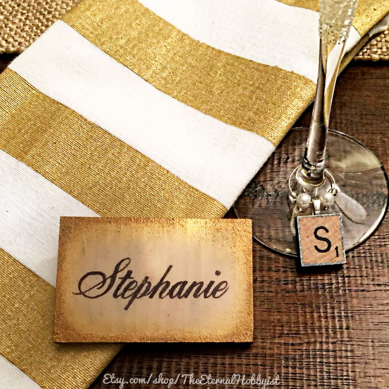 Gold Everything - DIY Napkin, Wine Charm and Place Card
