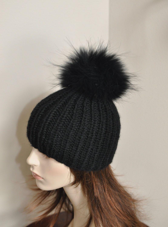 20ededd2a19 PomPom Beanie 100% CASHMERE Chunky Knit Beanie Hat Fur pompom Ribbed Beanie  Black Hat Double Bobbles Black hat Christmas Gift by lucymir on Etsy