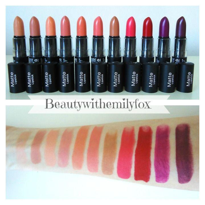 NYX Matte Lipsticks - New shades 2014  (L-R) Shy, Spirit, Forbidden, Couture, Daydream, Temptress, Sable, Street Cred, Eden, Aria and Siren