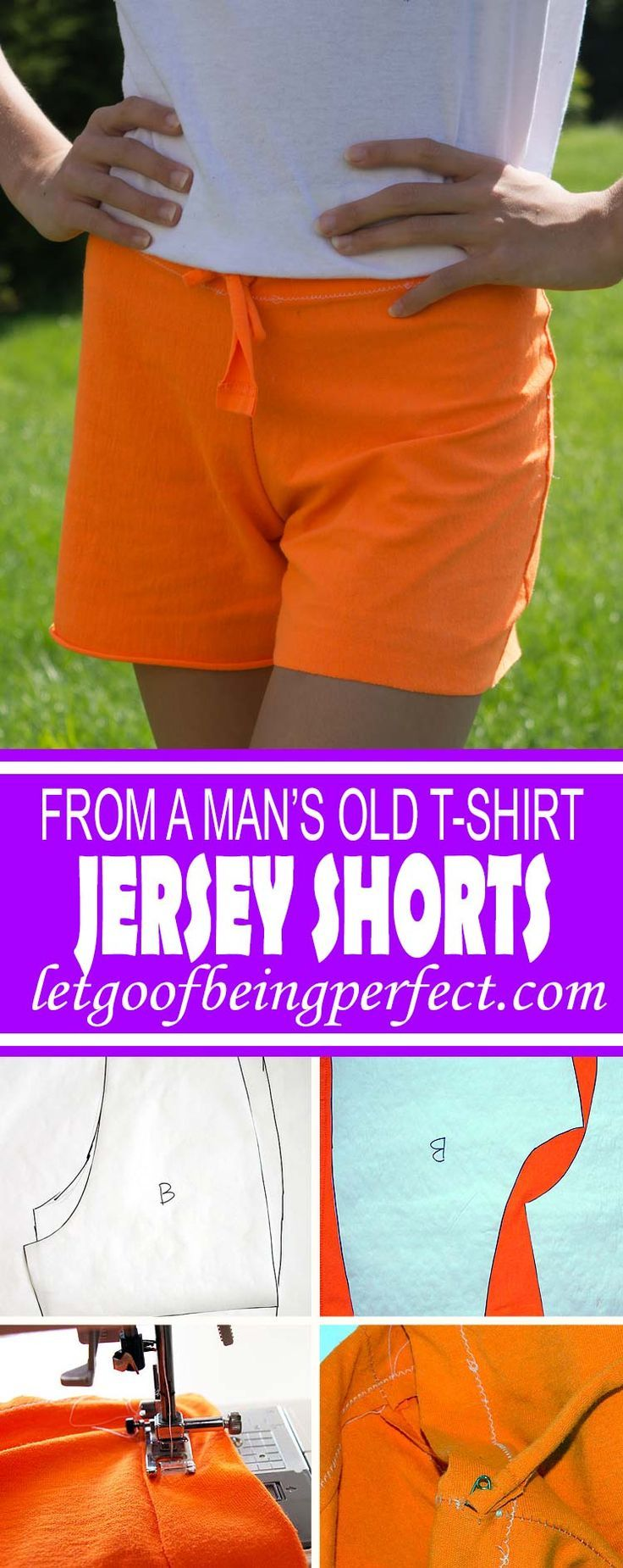 DIY Refashion Jersey Shorts from a Man's T-Shirt -   17 DIY Clothes No Sewing shorts ideas