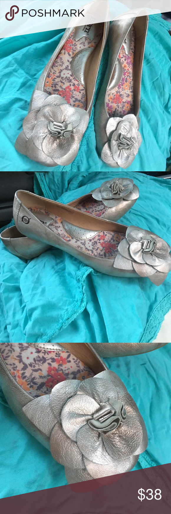 born leather flats Adorable high-end born brand flats. Champagne metallic color. Good preowned condition with minimal signs of wear. Made for comfort! Size 7 1/2 Born Shoes Flats & Loafers