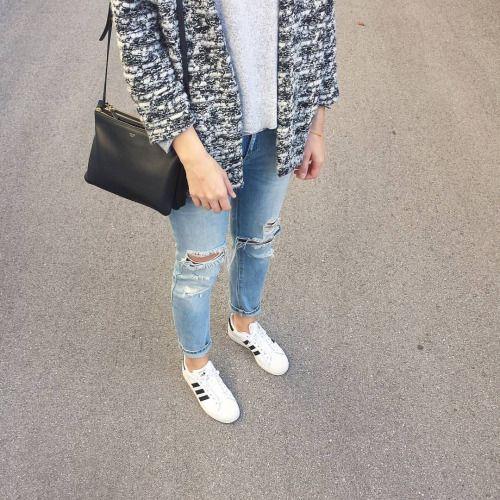 tifmys - H&M jacket, Céline trio bag, Zara destroyed denim and Adidas Superstar sneakers.