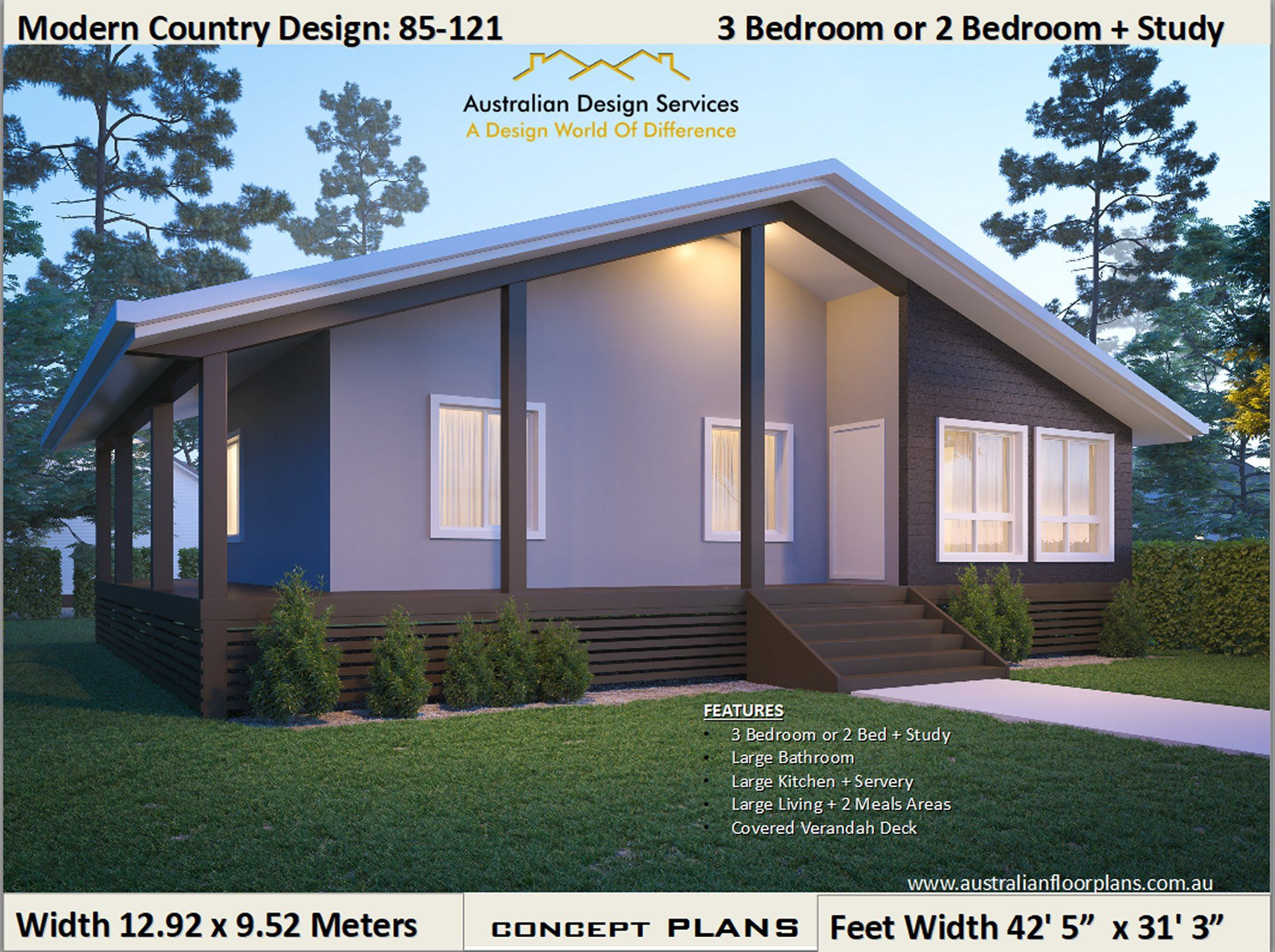 85 121 Clm 3 Bed Or 2 Bed Study Large Verandah Modern Etsy In 2021 House Plans For Sale Country House Design Mid Century Modern House Plans