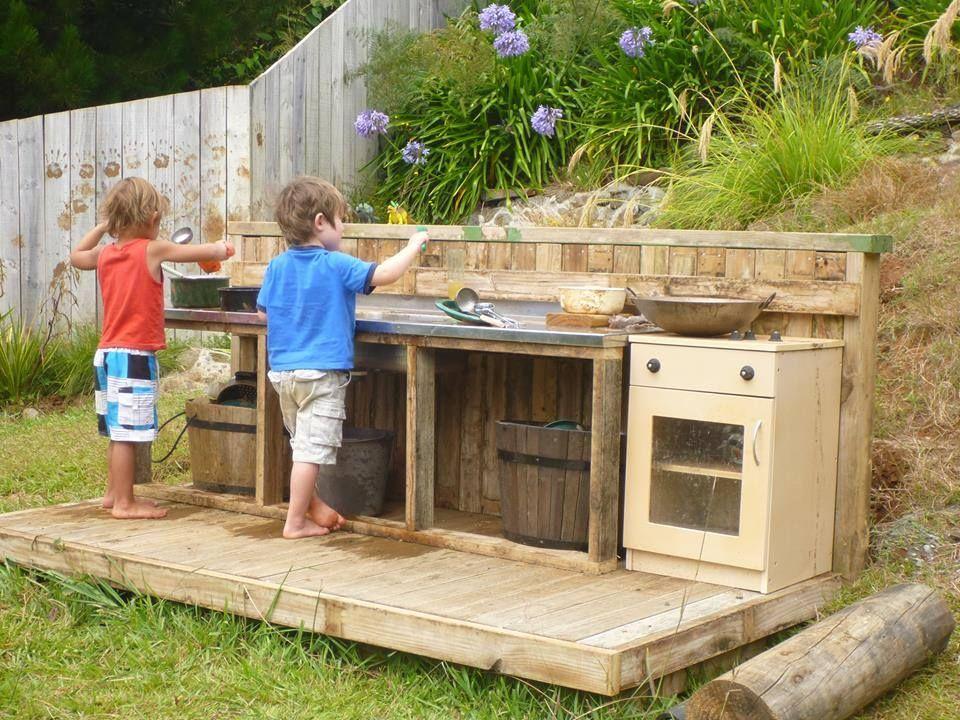 Gorgeous mud kitchen preschool kitchens pinterest for Daycare kitchen ideas