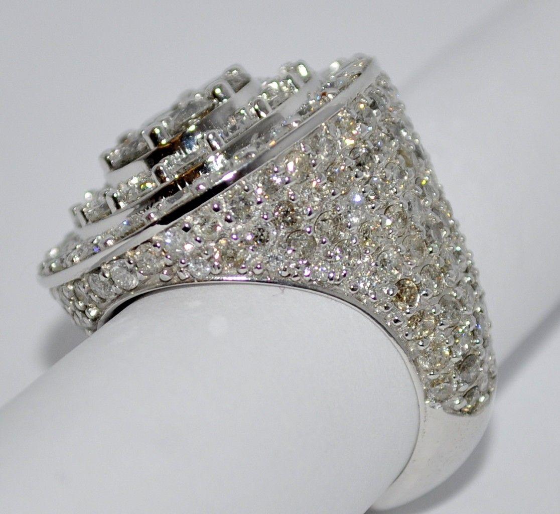 Huge+diamond+rings  Mens Diamond Ring 8ct 10k White Gold Big Look Pinky
