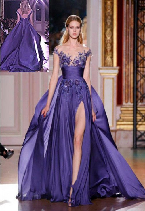 new long purple applique formal party evening prom cocktail dresses wedding gown description from anna