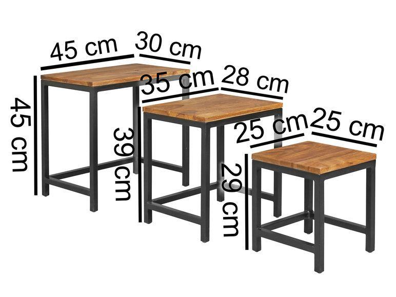 Wohnling 3er Set Design Beistelltisch Akola Sheesham Satztisch