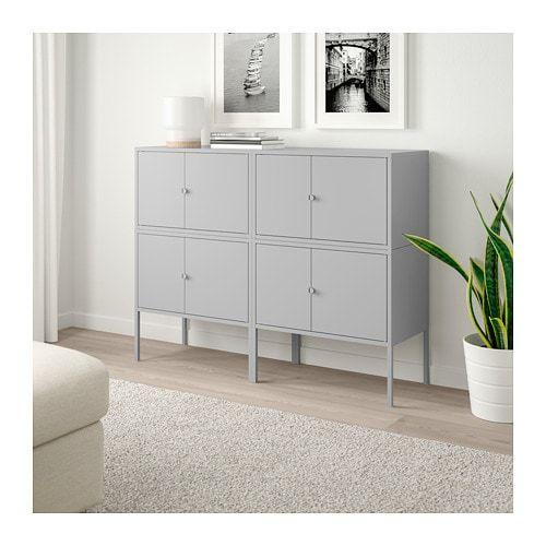 Lixhult Combinaison Rangement Gris 120x35x92 Cm Mobilier De Salon Ikea Lixhult Et Meuble Rangement Salon