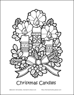 Christmas Coloring Book Candles Page
