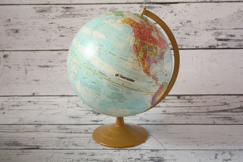 Vintage Globemaster Globe World Map Light Blue Colored Brass Color Metal  Base Earth Spinning 12