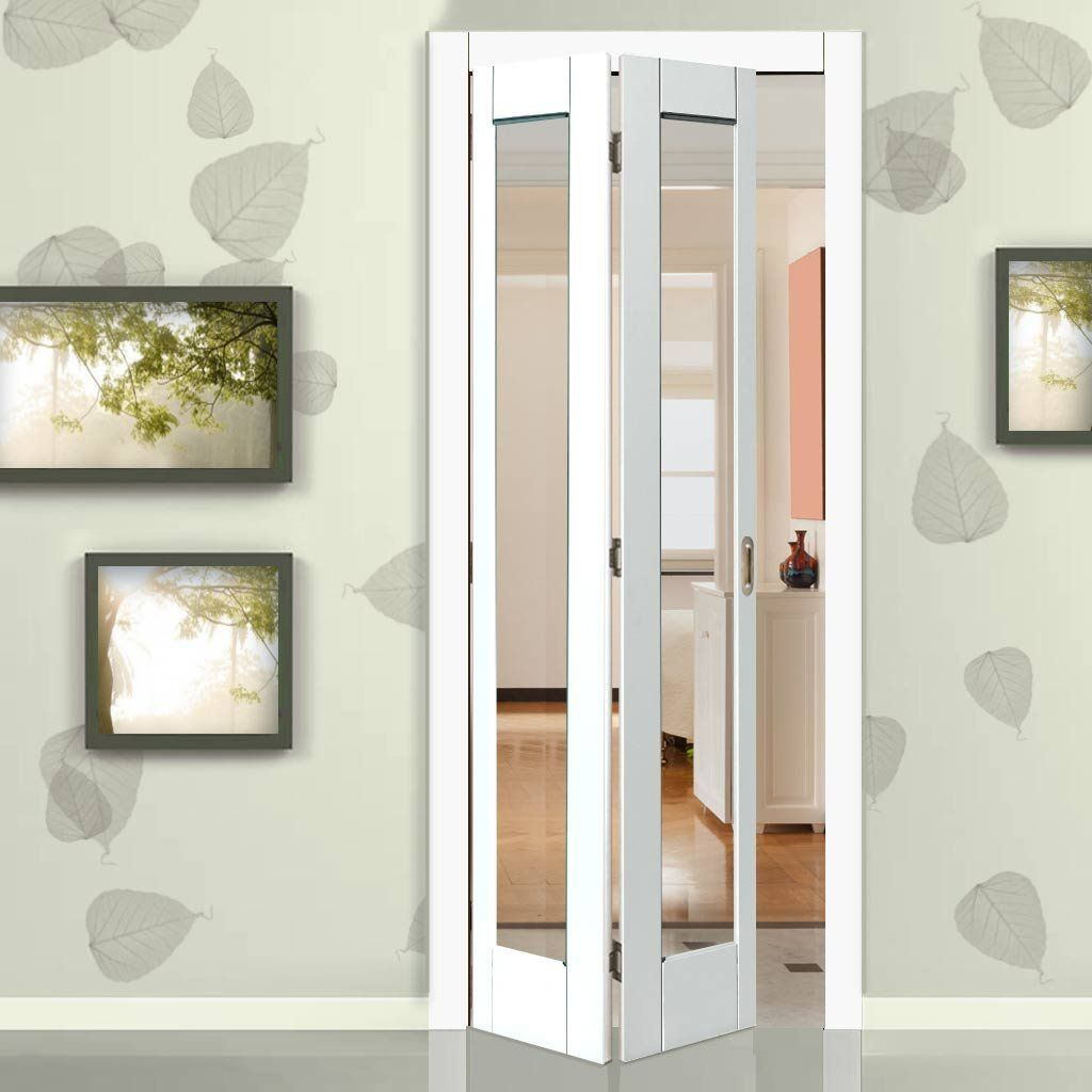 Tobago White Primed Bifold Door Clear Glass Home Decor