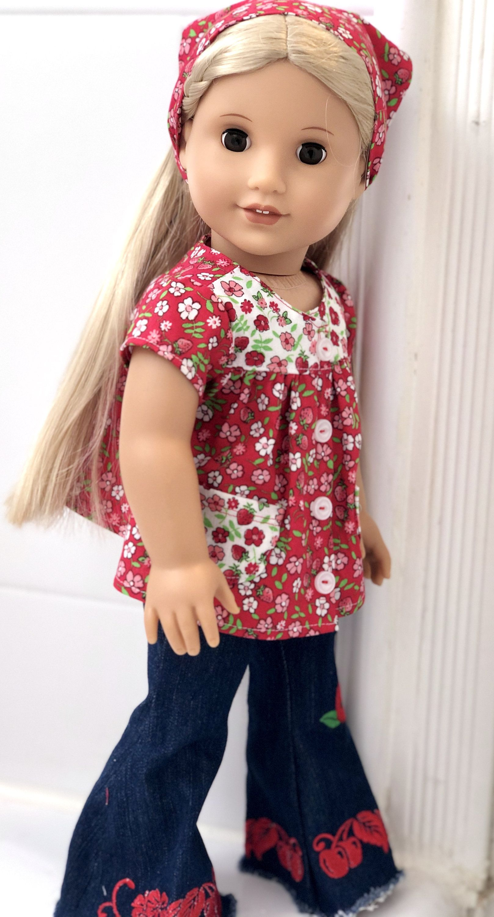 18 Inch Doll Clothes - Retro 1970s Style Smock Top, Scarf, and Embroidered Jeans -Made for 18 Inch Girl Dolls Such as THE Most Popular Doll!