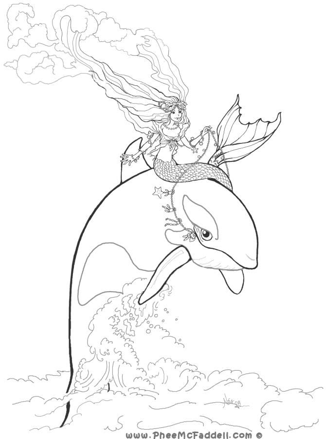 Mermaid And Orca Coloring Page Mermaid Coloring Pages Whale Coloring Pages Coloring Pages