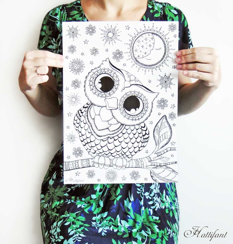 HATTIFANT Baby Owl Print | COLORBOOK | Pinterest | Owl, Colorear y ...