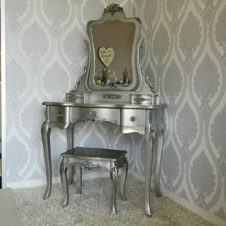 Silver Rose Dressing Table Mirror and Stool Set Bedroom Furniture ...