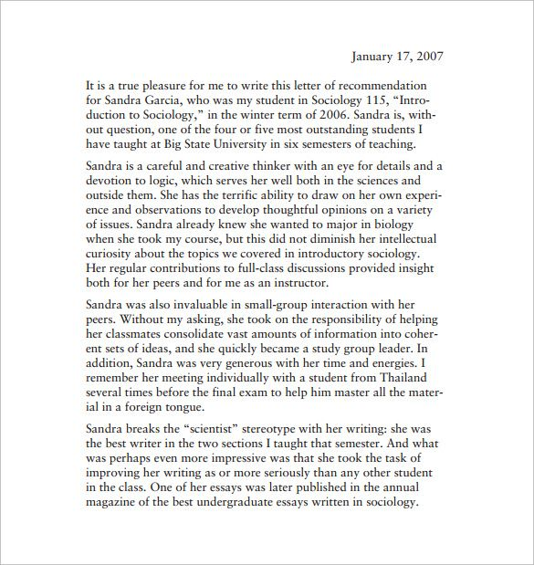 letters of recommendation for student from teacher pdf free download
