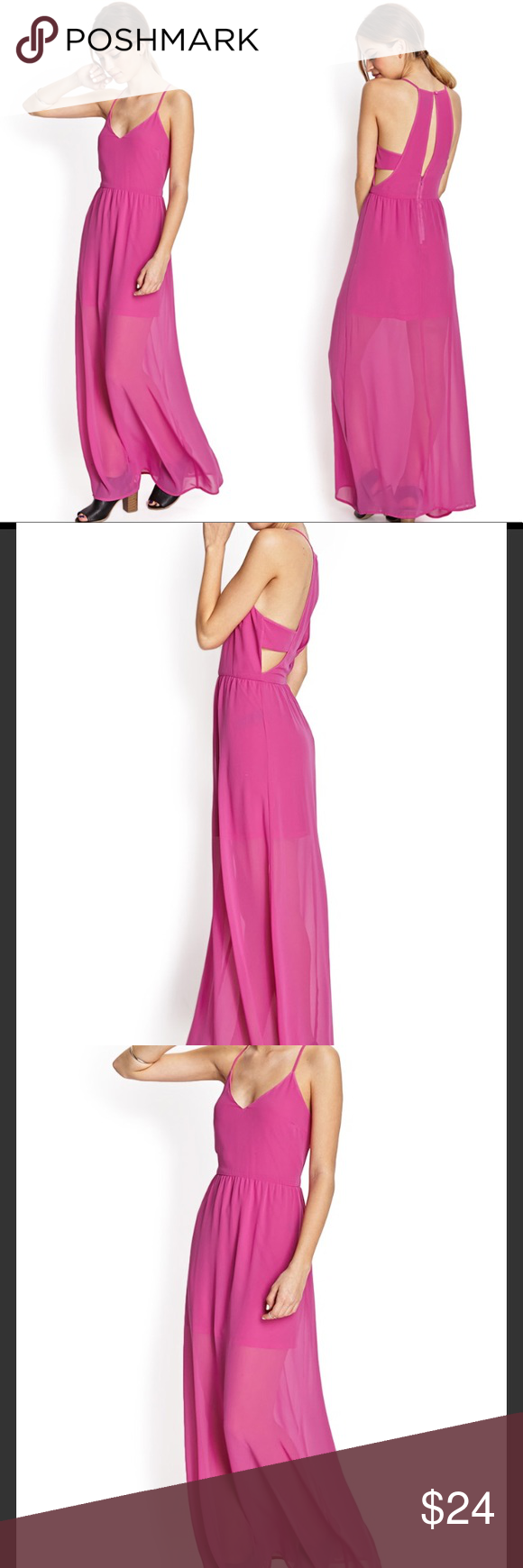 Hp pink maxi dress side cut out magenta gown s en my