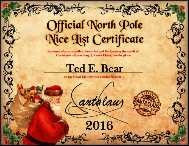 The experience and memories of a good santa letter can last a santa nice list designer tell us how you would like the name printed on your nice list certificate official north pole mail personalized letters from spiritdancerdesigns Image collections