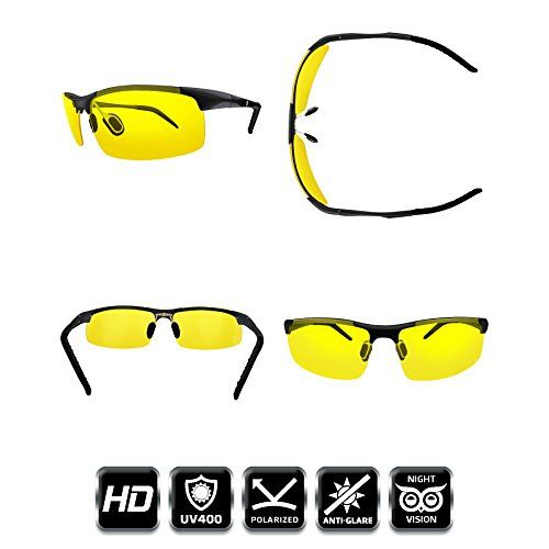 Knight Visor Polarized Anti Glare HD Night Vision Glasses for Driving  Sport Bike Riders Protection Sunglasses  With Flexible Frame and FREE Car Clip Holder  Designed in Milano Italy (Black Metal)