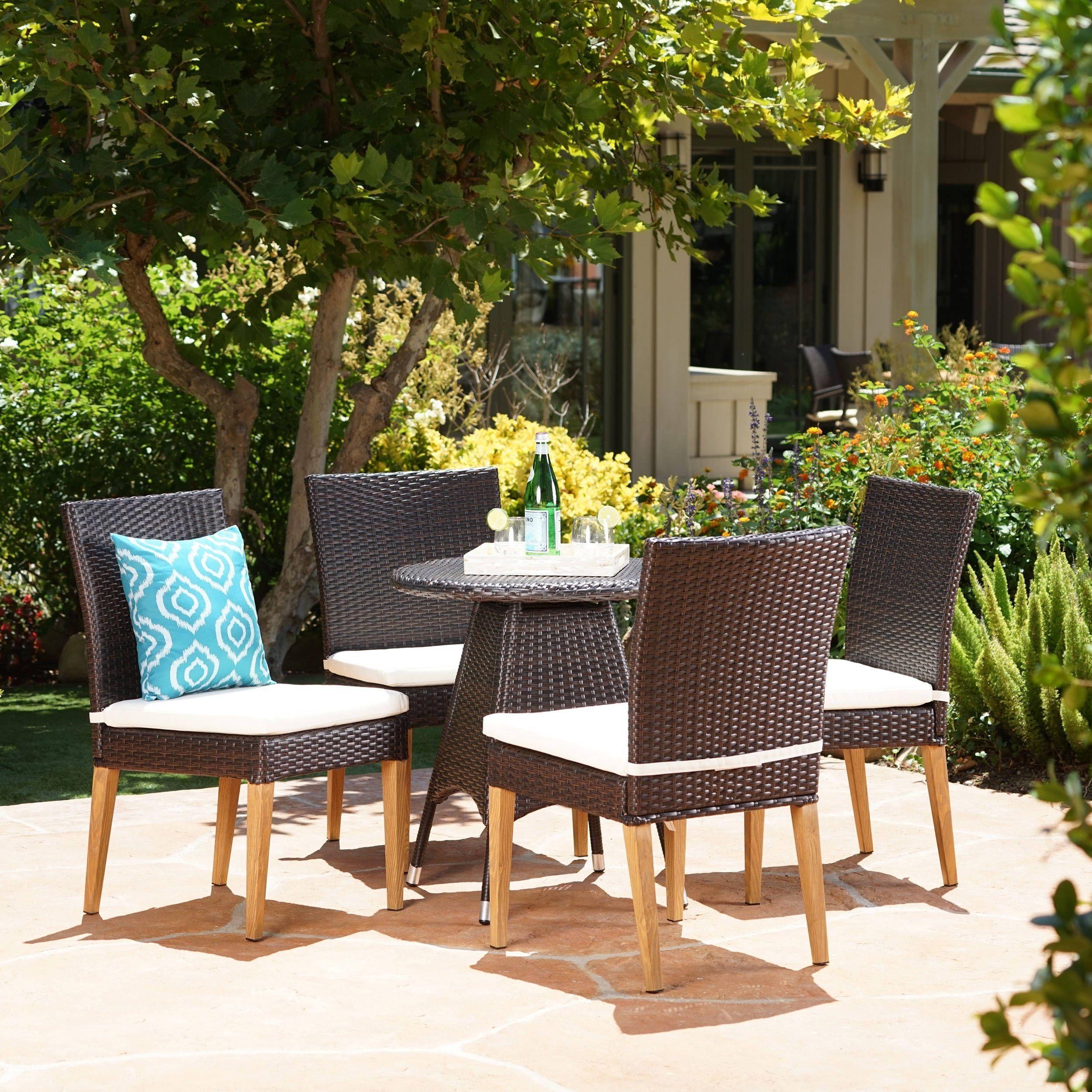 Santa Barbara Outdoor 5-Piece Round Wicker Dining Set With