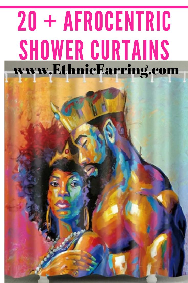 Black Love Home Decor Afrocentric Bathroom Shower Curtains