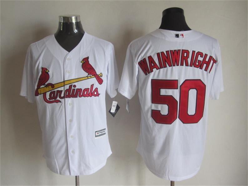 Men's St. Louis Cardinals #50 Adam Wainwright Alternate Cream 2015 MLB Cool Base Jersey