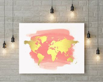 Rose Gold World Map Poster Large World Map Print Faux Foil Map - 8x10 printable world map
