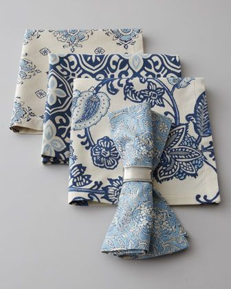 French Laundry Home Four Block-Print Napkins - Neiman Marcus | Pretty. Love blue and white palettes