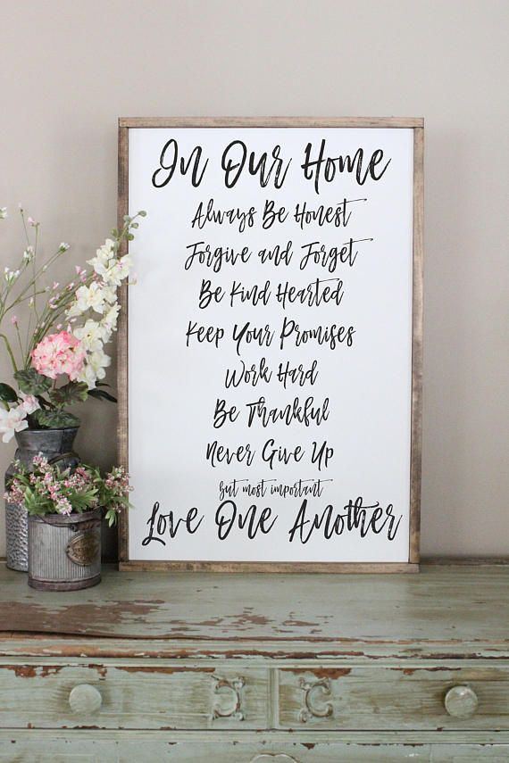 This family rules sign is the perfect finishing touch to any home. The large size makes it easily seen as a focal point in your room. Sign Shown: 24x36 white background   black lettering   walnut frame This listing is for one MADE TO ORDER wood sign. Your sign will ship 1-2 weeks