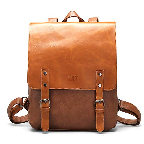 a821bb5e66da5 Vegan Leather Backpack Vintage Laptop Bookbag for Women Men,LXY Brown Faux Leather  Backpack College School Bookbag Weekend Travel Daypack - VEGAN LEATHER ...