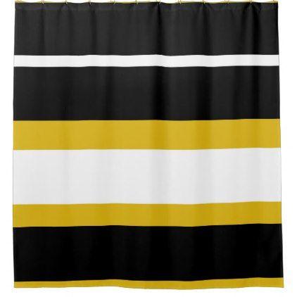 Yellow Black White Stripes Bee Stripe Shower Curtain Zazzle Com Striped Shower Curtains Yellow Shower Curtains Yellow Black