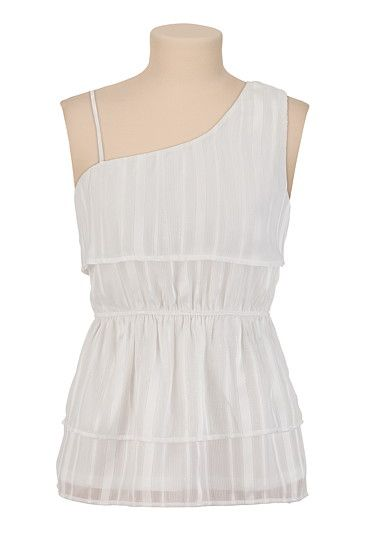 de7bfd964366da White Ruffle One Shoulder Top with Lurex