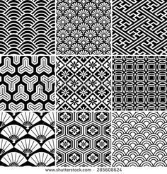 image result for japanese wave pattern black and white