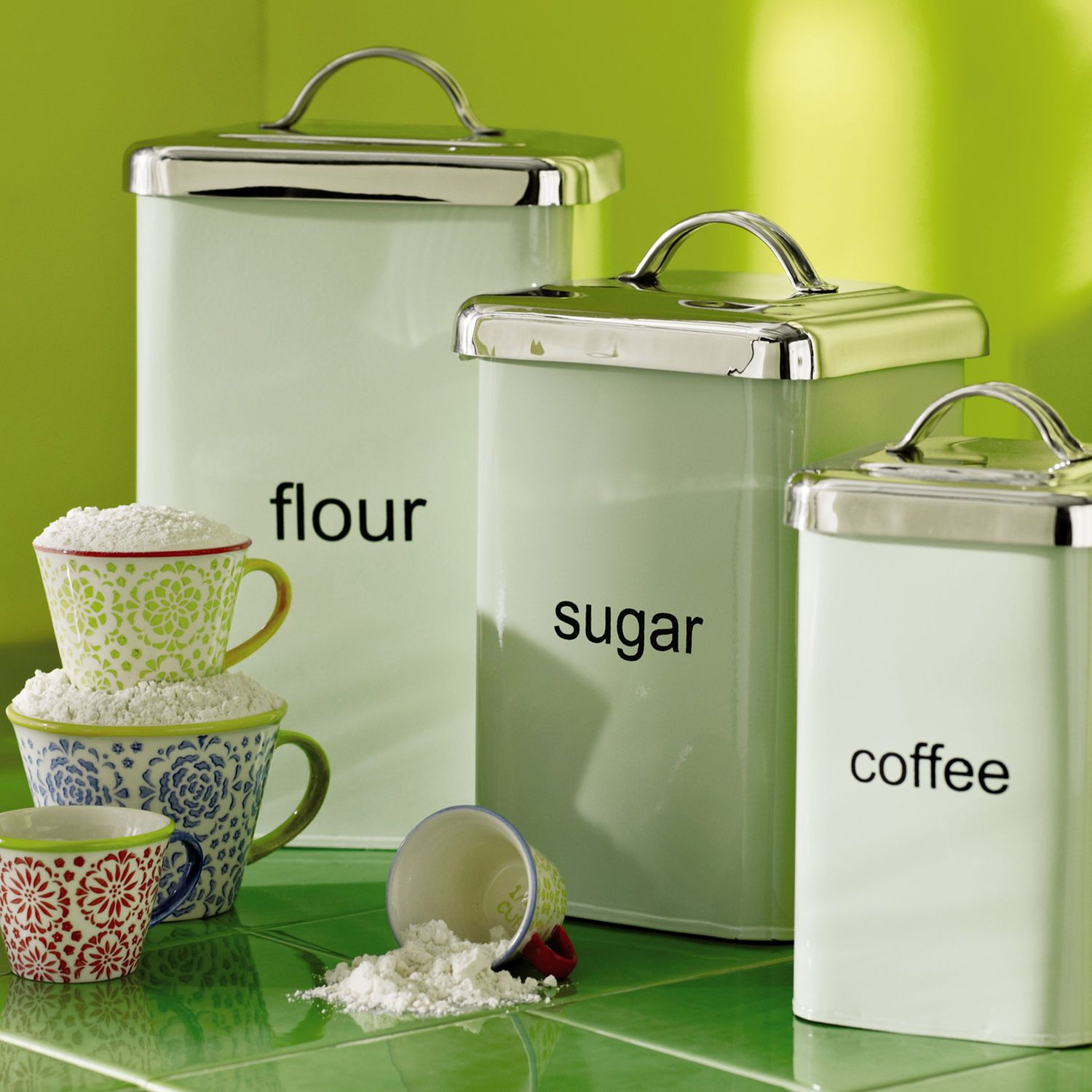 Green Kitchen Canisters: Mint Green Metal Canisters / Pier One