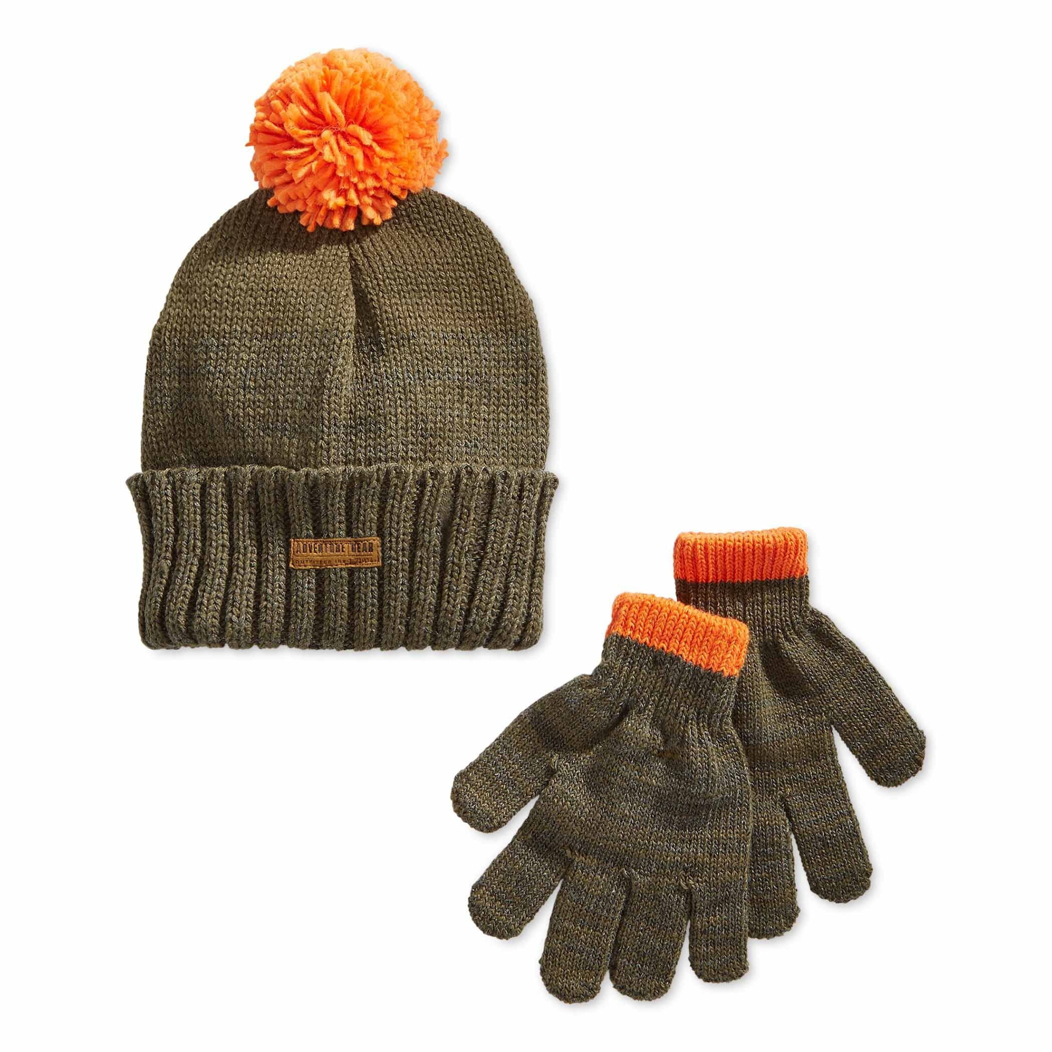 94e3475a Carter's Little Boys Olive Green / Orange Hat and Stretch Gloves Set - Size  4-