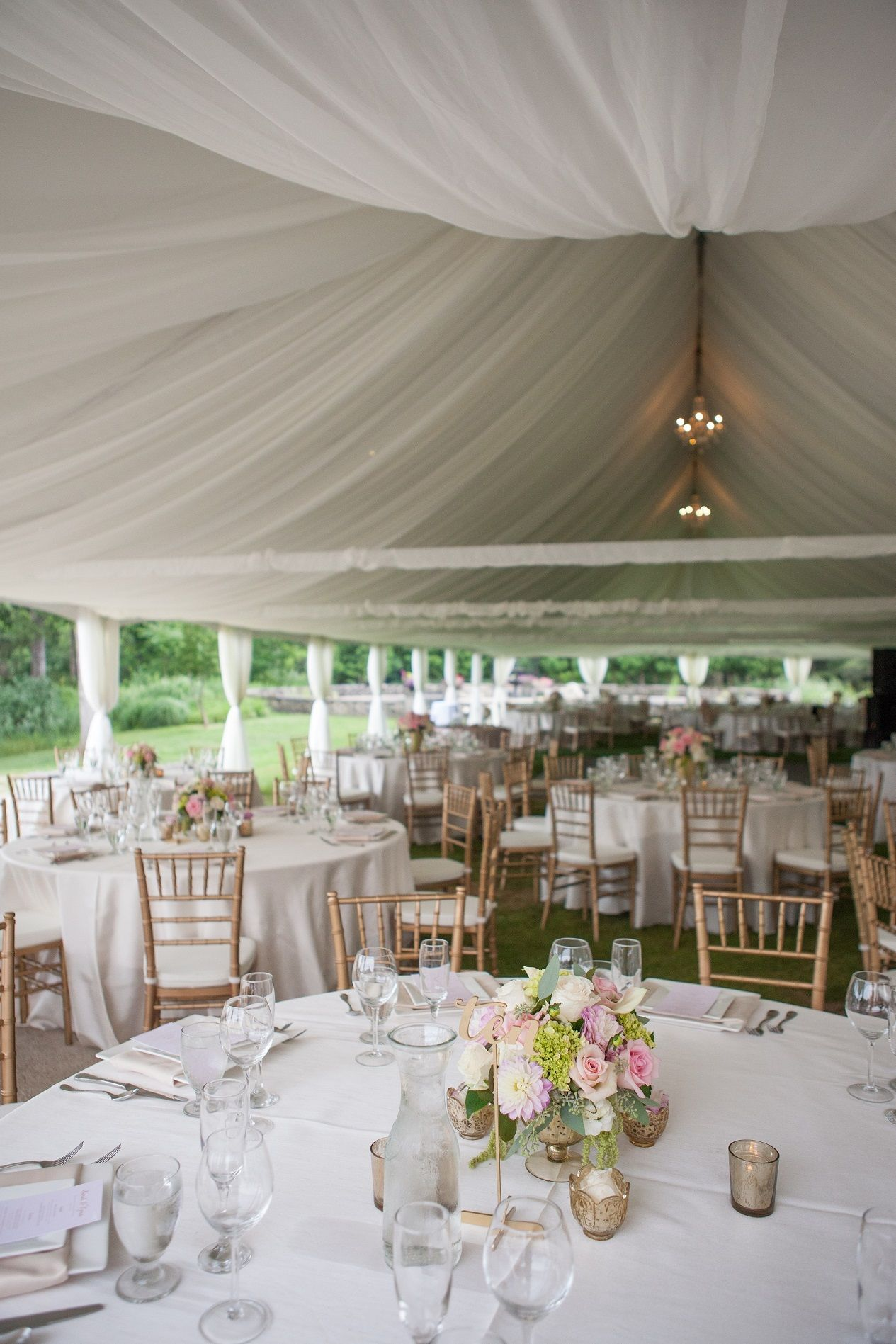 Felt Mansion Wedding Tent Draping Chandeliers Blush And Gold