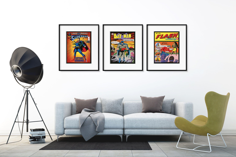 Superhero print poster superhero wall art wall decor superhero poster batman superman flash by picturebypicture on etsy