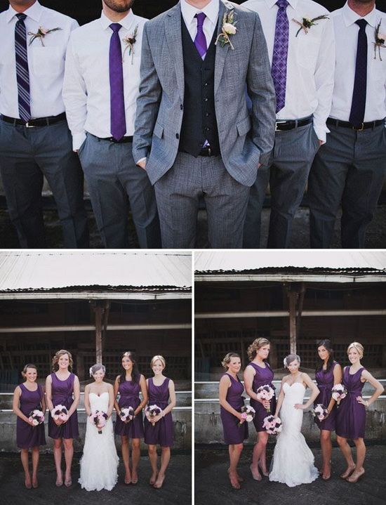 purple bridesmaid dresses and grey groonsmen suits ...