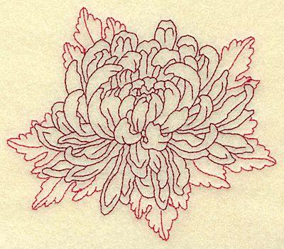 Chrysanthemum Beautiful Flower Redwork Machine Embroidery Design Or Pattern Chrysanthemum Tattoo Tattoos Flower Tattoo Designs