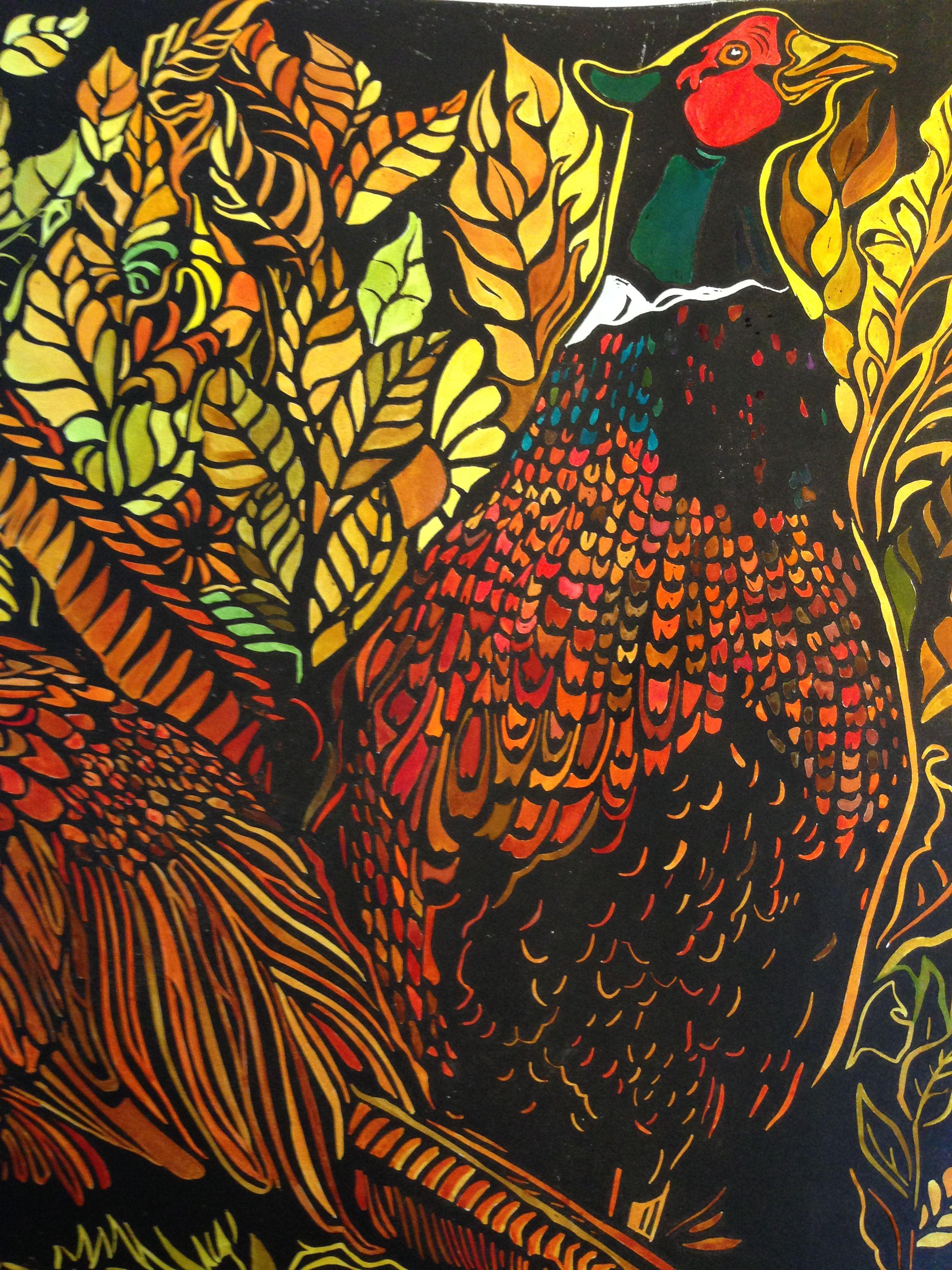 pheasant hand painted lino print artist cara ayers