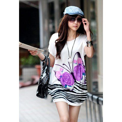 Gamiss® Charming and Luxurious Style Butterfly Print Short Sleeve White Cotton Dress For Women, WHITE in Print Dresses   DressLily.com