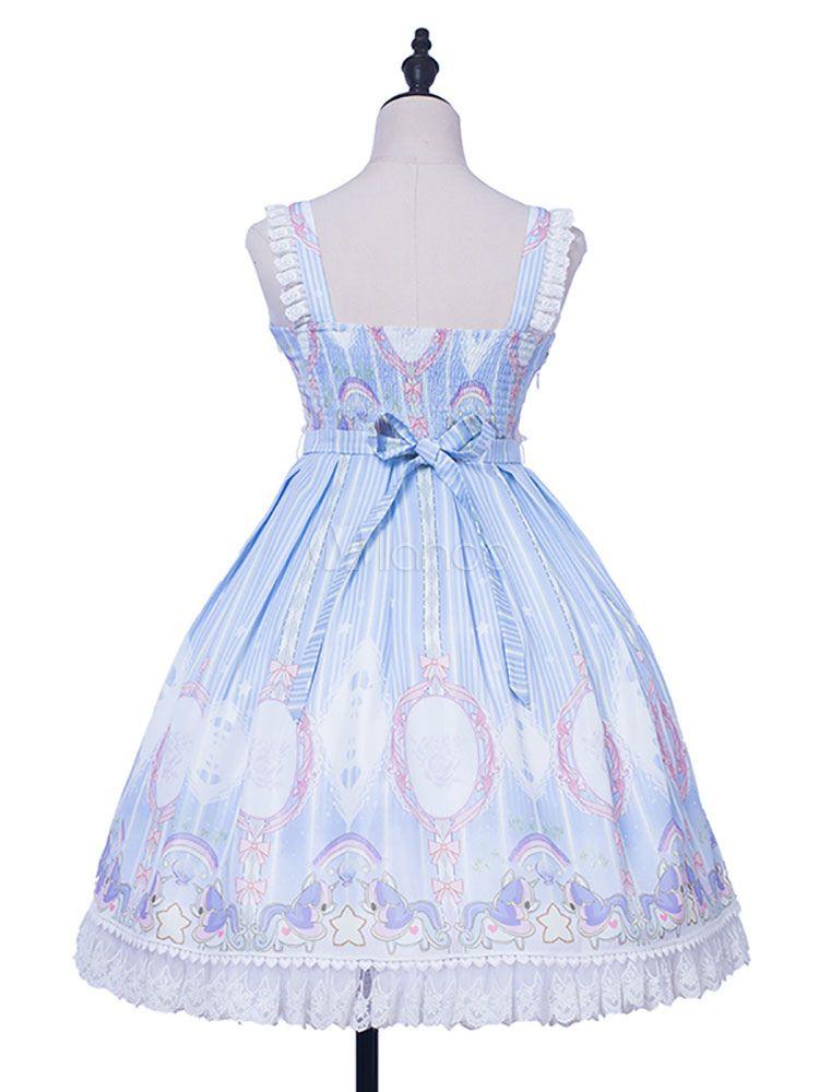 836b6d09b78d Sweet Lolita JSK Dress Unicorn Stars Print Lace Ruffle Bow Light Blue  Lolita Jumper Skirt