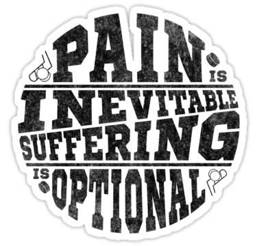 Pain is inevitable suffering is optional hockey stickers by gamefacegear check out
