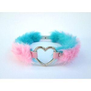 Pastel Grunge DDLG Heart Choker, Pastel Goth Reversible Collar 4 Styles in 1, Pink Leather Lolita Furry Fairy Kei Faux Fur, PU Leather