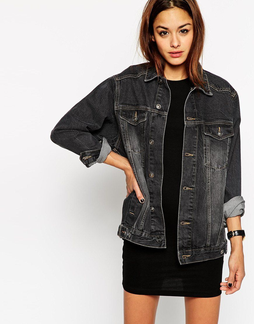 aa826e381e4 Denim Girlfriend Jacket in Black Black Denim Jacket Outfit