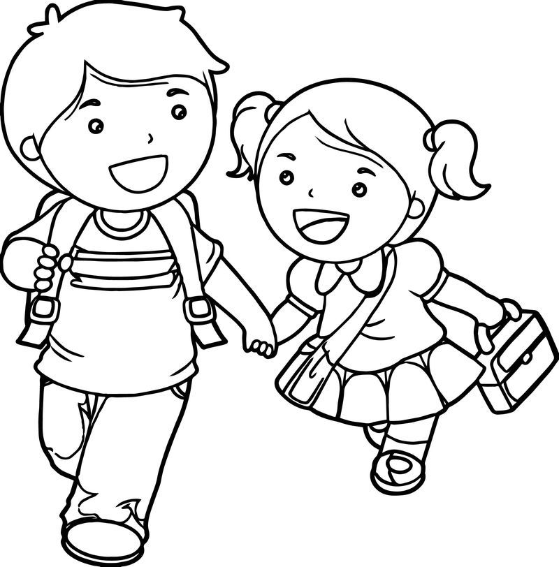 Boy And Girl Lets Go School Coloring Page Co Hinh ảnh Y Tưởng