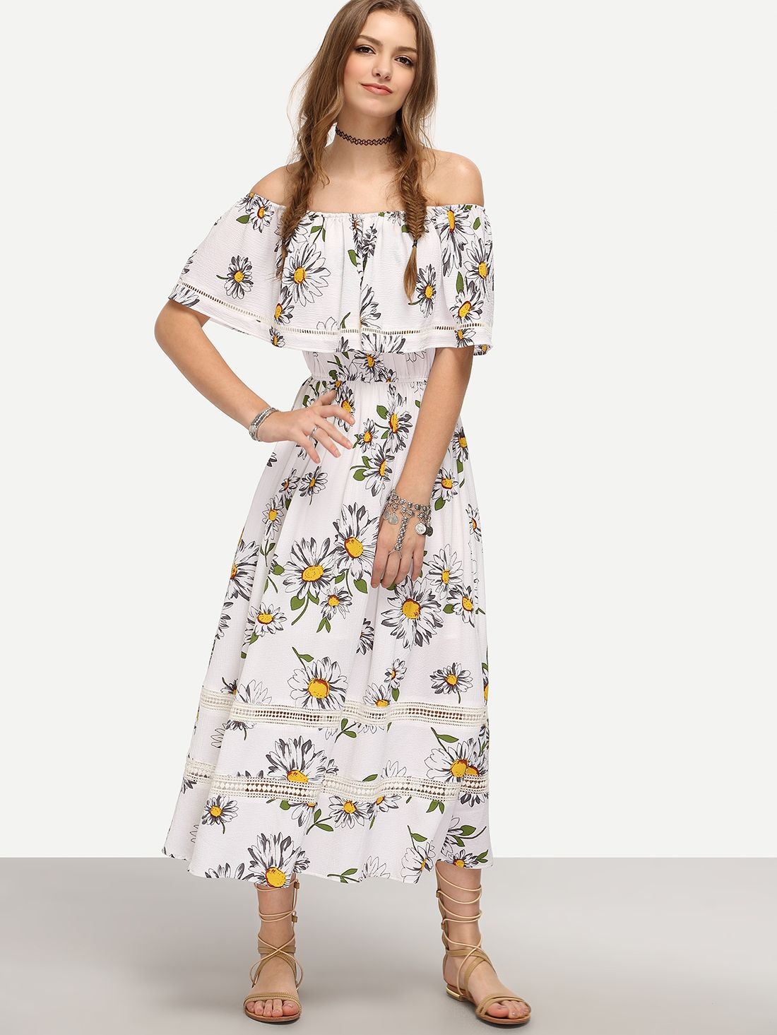 67a9b24426 Shop White Off The Shoulder Flower Print Maxi Dress online. SheIn ...