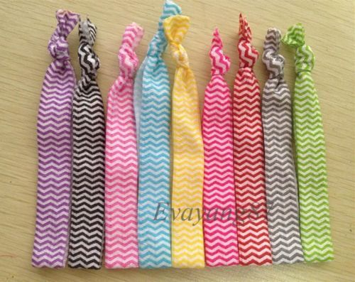 Lot 18 stretch Hair tie Soft knotted Elastic ponytail holders bracelet Stripe